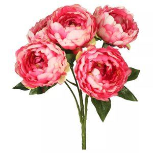 "Artificial Peony Bunch (20"") - 5 Blossoms"